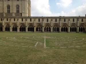 labyrinth in cloister of Norwich Cathedral England